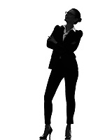 one  business woman standing looking up smiling in silhouette on white background