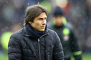 Chelsea Manager Antonio Conte makes his way to the dugout prior to kick off. Premier league match, Burnley v Chelsea at Turf Moor in Burnley, Lancs on Sunday 12th February 2017.<br /> pic by Chris Stading, Andrew Orchard Sports Photography.