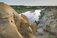 Sandstone formations along the Little Missouri River, Theodore Rossevelt National Park, North Dakota