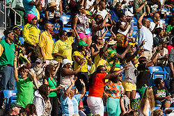 spectators, mostly Jamaican, cheer at adidas Grand Prix Diamond League track and field meet