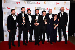Ant McPartlin and Declan Donnelly with the award for Best Entertainment Programme in the press room at the Virgin TV British Academy Television Awards 2017 held at Festival Hall at Southbank Centre, London. PRESS ASSOCIATION Photo. Picture date: Sunday May 14, 2017. See PA story SHOWBIZ Bafta. Photo credit should read: Ian West/PA Wire