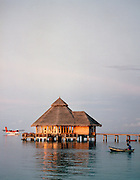 A hotel restaurant and seaplane, Maldives, Indian Ocean