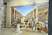 Israel, Jerusalem old city, Interior of the reconstructed Cardo in the Jewish quarters. Mural painting depicting life in the Roman period