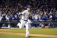 CHICAGO, IL - OCTOBER 22: Willson Contreras #40 of the Chicago Cubs runs the bases after hitting a solo home run in the fourth inning during Game 6 of the NLCS against the Los Angeles Dodgers at Wrigley Field on Saturday, October 22, 2016 in Chicago, Illinois. (Photo by Ron Vesely/MLB Photos via Getty Images)   *** Local Caption *** Willson Contreras