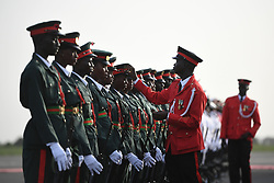 Military prepare for arrival of The Prince of Wales and Duchess of Cornwall at Banjul international airport in The Gambia, at the start of their trip to west Africa.
