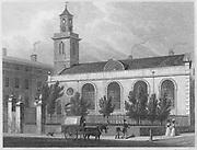 St Mary church, Aldermanbury, engraving 'Metropolitan Improvements, or London in the Nineteenth Century' London, England, UK 1828 , drawn by Thomas H Shepherd
