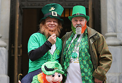 March 17, 2020, New York, New York, USA: Irish Tourists Visiting the Saint Patricks Cathedral on Fifth Avenue in New York City to Celebrate St Patricks Day and Pray for the CoronaVirus Sufferer. (Credit Image: © Luiz Rampelotto/ZUMA Wire)