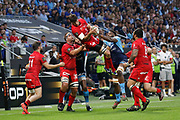 Julien Puricelli of Lyon and Hendrik Lambertus Roodt of Lyon during the French championship Top 14 Rugby Union semi-final match between Montpellier v Lyon OU on May 25, 2018 at Groupama stadium in Lyon, France - Photo Romain Biard / Isports / ProSportsImages / DPPI