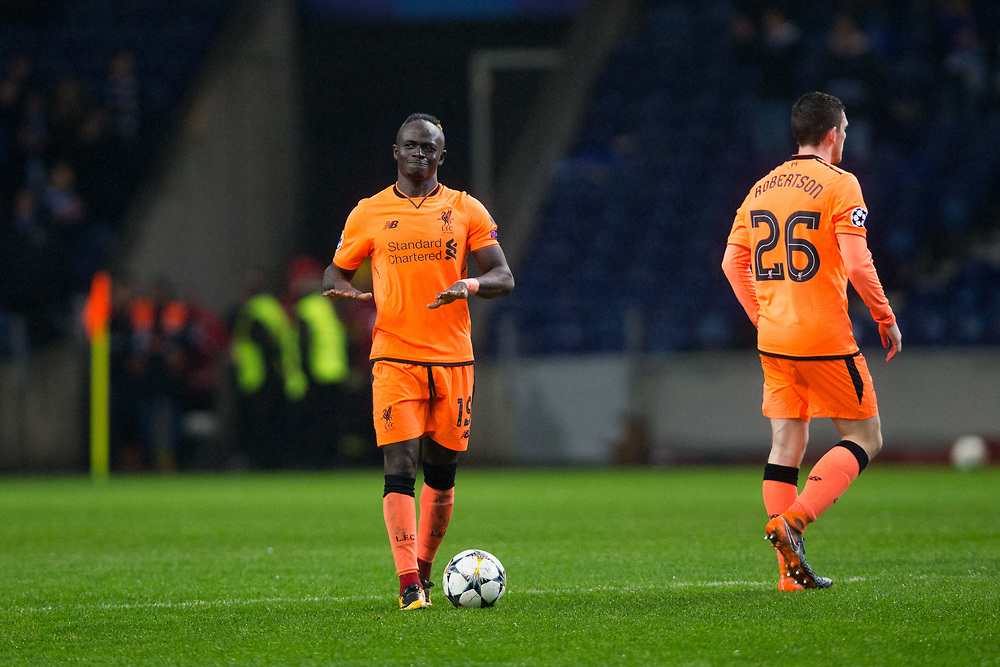 Liverpool's Sadio Mane celebrates with the match ball after his hat-trick <br /> <br /> Photographer Craig Mercer/CameraSport<br /> <br /> UEFA Champions League Round of 16 First Leg - FC Porto v Liverpool - Wednesday 14th February 201 - Estadio do Dragao - Porto<br />  <br /> World Copyright © 2018 CameraSport. All rights reserved. 43 Linden Ave. Countesthorpe. Leicester. England. LE8 5PG - Tel: +44 (0) 116 277 4147 - admin@camerasport.com - www.camerasport.com