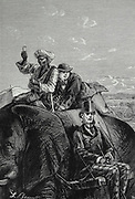 Passepartout's Uneasy Ride on the Back of the Elephant. from the book ' Around the world in eighty days ' by Jules Verne (1828-1905) Translated by Geo. M. Towle, Published in Boston by James. R. Osgood & Co. 1873 First US Edition