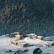 View over Laya village after a snow storm.