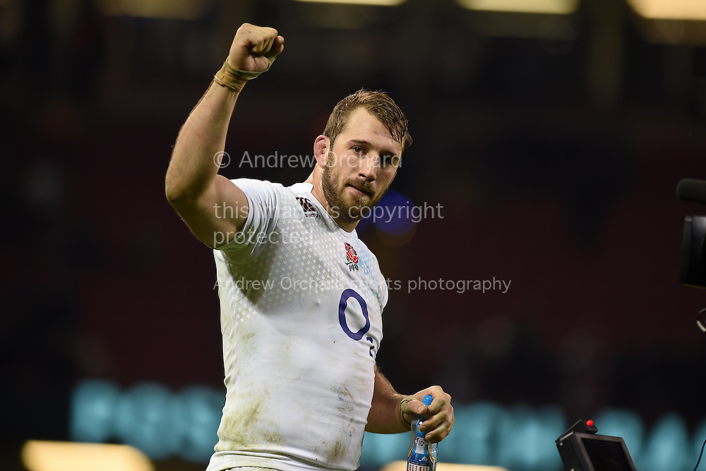 England capt Chris Robshaw celebrates his teams win at end of match.    RBS Six nations championship 2015, Wales v England at the Millennium Stadium in Cardiff, South Wales on Friday 6th  Feb 2015. pic by Andrew Orchard, Andrew Orchard sports photography.