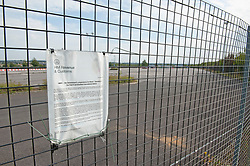 ©Licensed to London News Pictures 16/09/2020  <br /> Ebbsfleet, UK. HMRC planning notice on the fence. Ebbsfleet international Covid 19 testing site has closed suddenly in Ebbsfleet, Kent.<br /> The site will now be used for Boris Johnson's Government Brexit plan as HMRC require the site for EU exit. Its believed the site will be a lorry park for freight heading to Dover. Photo credit:Grant Falvey/LNP
