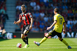 Simon Francis of AFC Bournemouth under pressure from Jordan Veretout of Aston Villa - Mandatory by-line: Jason Brown/JMP - Mobile 07966 386802 08/08/2015 - FOOTBALL - Bournemouth, Vitality Stadium - AFC Bournemouth v Aston Villa - Barclays Premier League - Season opener