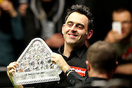 Ronnie O'Sullivan of England lifts the Paul Hunter Trophy as he celebrates his win and becoming the Dafabet Masters 2017 champion, a record 7 times Masters champion.  Ronnie O'Sullivan (Eng) v Joe Perry (Eng), the Masters Final at the Dafabet Masters Snooker 2017, at Alexandra Palace in London on Sunday 22nd January 2017.<br /> pic by John Patrick Fletcher, Andrew Orchard sports photography.