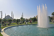 Turkey, Istanbul, Sultanahmet park fountain, The blue Mosque in the background