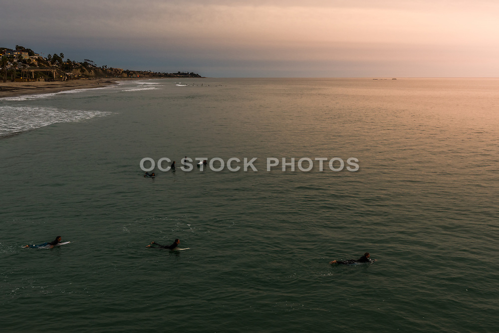 Surfing at Sunset by San Clemente Pier