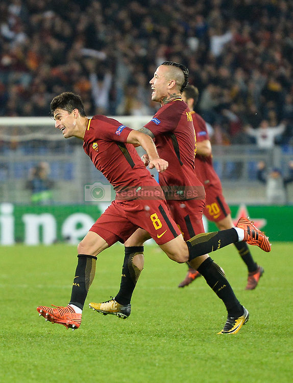 October 31, 2017 - Rome, Italy - Diego Perotti celebrates after scoring goal 3-0 during the Champions League football match A.S. Roma vs Chelsea Football Club at the Olympic Stadium in Rome, on october 31, 2017. (Credit Image: © Silvia Lore/NurPhoto via ZUMA Press)