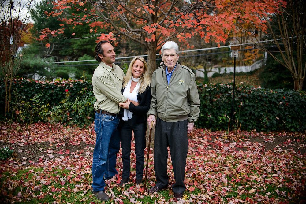 Alexandria, Virginia - November 21, 2013:<br /> Retired U.S. Senator John Warner, his wife Jeanne Warner, his daughter Mary Conover, 55, and her new husband Kenyon Fields, 39. <br /> CREDIT: Matt Roth