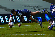 Sale Sharks wing Denny Solomona dives over to score a try during the European Champions Cup match Sale Sharks -V- Edinburgh Rugby at The AJ Bell Stadium, Greater Manchester,England United Kingdom, Saturday, December 19, 2020. (Steve Flynn/Image of Sport)