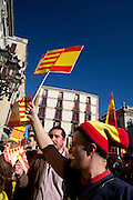 Thousands of people march in Barcelona against the Independence's Call of the Catalan Government. The strike has been organized by the PP, Ciutadans and UPD Political Partys. The strikers don't want the indepenpendence of Catalonia. They feel spanish and catalan. Location: Sant Jaume Square, in front of the Government.