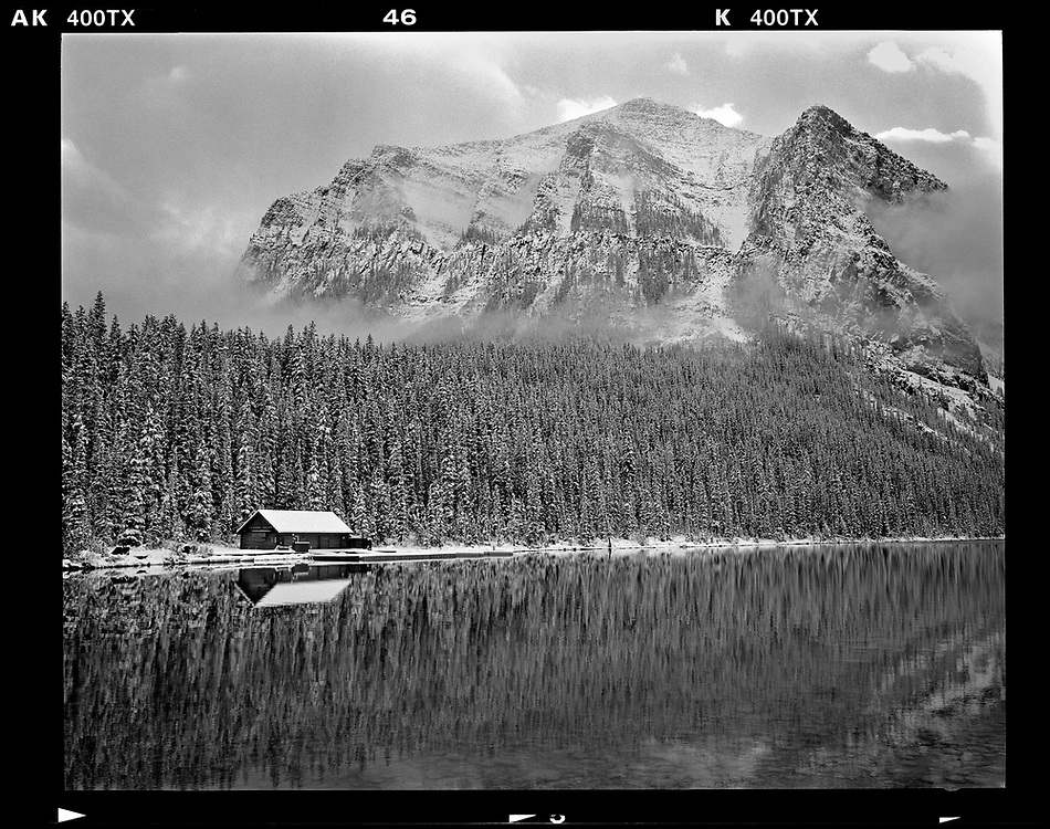 A cabin is seen on Lake Louise, Alberta, Canada. Photo by Jim Young