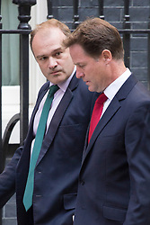 © licensed to London News Pictures. London, UK 28/08/2013. Energy Secretary Ed Davey (left) and Deputy Prime Minister Nick Clegg arriving Downing Street, London on Wednesday, 28 August 2013 to attend a meeting of the National Security Council regarding the Syrian crisis. Photo credit: Tolga Akmen/LNP