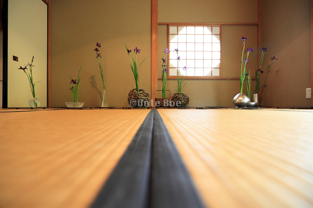old style Japanese house with flower arrangement