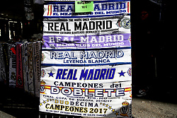A general view of Real Madrid scarfs for sale outside the grounds of the stadium before the match begins