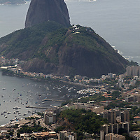 South America, Brazil, Rio de Janeiro. View of Sugarloaf from Corcovado, overlooking the city of Rio on the Atlantic.