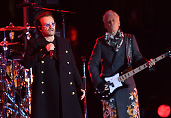 U2 play Trafalgar Square in the lead up to the MTV European Music Awards, London. Photo credit should read: Doug Peters/EMPICS Entertainment