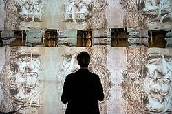 May 2, 2019 - Rome, Italy - A man stands in front of interactive display at the 'From Leonardo To Space' or Da Leonardo allo Spazio in Piazza Novelli Exhibition Inauguration Opening. (Credit Image: © Carlo Cozzoli/LaPresse via ZUMA Press)
