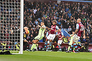 Nicolas Otamendi of Manchester city has a shot saved by Brad Guzan, the Aston Villa goalkeeper. Barclays Premier league match, Aston Villa v Manchester city at Villa Park in Birmingham, Midlands  on Sunday 8th November 2015.<br /> pic by  Andrew Orchard, Andrew Orchard sports photography.