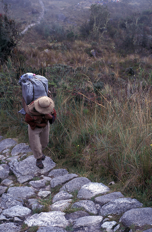 A porter from the village of Ollantaytambo walks along the Inca Trail