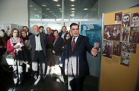 """DEU, Deutschland, Germany, Berlin, 19.10.2012:<br />Romani Rose, Vorsitzender des Zentralrats Deutscher Sinti und Roma, bei der Eröffnung der Ausstellung """"The Holocaust against the Sinti and Roma and Present Day Racism in Europe"""" in der Stiftung Topographie des Terrors."""