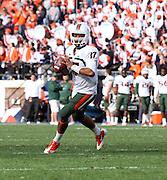 Oct 30, 2010; Charlottesville, VA, USA;   Miami Hurricanes quarterback Stephen Morris (17) throws the ball during the game against the Virginia Cavaliers at Scott Stadium. Virginia won 24-19. Mandatory Credit: Andrew Shurtleff