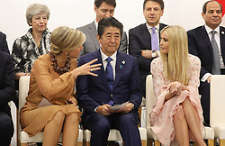"""Queen Maxima of the Netherlands, Shinzo Abe (Japanese Prime Minister) and Ivanka Trump (Advisor to the President of the United States) - Side event organized by the Japanese Prime Minister, on the theme """"Promoting the place of women at work"""" at the Intex Osaka congress center at the G20 summit in Osaka, Japan, on June 29, 2019. Photo by Dominque Jacovides/Pool/ABACAPRESS.COM"""
