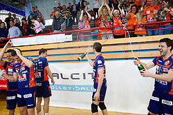 Gregor Ropret of ACH, Andrej Flajs of ACH, Daniel Lewis of ACH and Carlos Moreno of ACH celebrate after winning the volleyball match between Calcit Volleyball and ACH Volley in 4th Final Round of Radenska Classic League 2012/13 on April 16, 2013 in Arena Kamnik, Slovenia. ACH Volley defeated Calcit Kamnik in games 3-1 and became Slovenian National Champion 2013.(Photo By Vid Ponikvar / Sportida)
