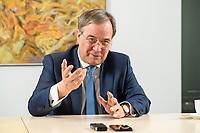 31 MAY 2021, BERLIN/GERMANY:<br /> Armin Laschet, CDU, Ministerpraesident Nordrhein-Westfalen und CDU Bundesvorsitzender, waehrend einem Interview, Landesvertretung NRW<br /> IMAGE: 20210531-01-007