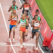 TOKYO, JAPAN August 2:  Gold medal winner Sifan Hassan of The Netherlands makes her move at the bell in the Women's 5000m Final at the Olympic Stadium at the Tokyo 2020 Summer Olympic Games on August 2nd, 2021 in Tokyo, Japan. (Photo by Tim Clayton/Corbis via Getty Images)