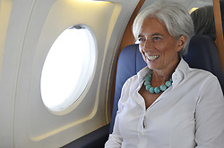 File Photo - French Minister for the Economy, Finance and Employment Christine Lagarde on the plane to Gothenburg in Sweden on October 1rt, 2009 for a session of the informal ECOFIN meeting at the Eriksberghallen in Gothenburg. The European Council announced Tuesday that Lagarde, the current head of the International Monetary Fund, had been chosen to succeed Mario Draghi as president of the European Central Bank,, whose eight-year term ends in October. Photo by Elodie Gregoire/ABACAPRESS.COM