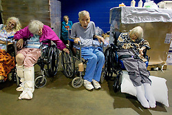 28th August, 2005. Hurricane Katrina, New Orleans, Louisiana. Thousands of people sought shelter inside the New Orleans Saints' Superdome the night before the storm hit. Elderly and infirm patients, taken from hospitals and nursing homes were pushed against walls leading to the playing surface.