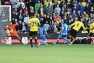 GOAL : Troy Deeney, the Watford captain shoots to score his sides 1st goal. Premier league match, Watford v AFC Bournemouth at Vicarage Road in Watford, London on Saturday 1st October 2016.<br /> pic by John Patrick Fletcher, Andrew Orchard sports photography.