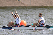 Glasgow, Scotland, Sunday, 5th  August 2018, Final Lightweight Men's Double Sculls, Gold Medalist, NOR LM2X, <br /> Bow, Kristoffer BRUN and Are STRANDLI,  European Games, Rowing, Strathclyde Park, North Lanarkshire, © Peter SPURRIER/Alamy Live News
