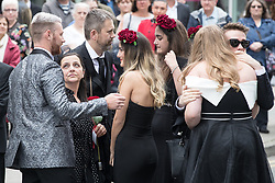 © Licensed to London News Pictures . 30/06/2017 . Stockport , UK . Family and friends , including Martyn's parents arrive outside the Town Hall . The funeral of Martyn Hett at Stockport Town Hall . Martyn Hett was 29 years old when he was one of 22 people killed on 22 May 2017 in a murderous terrorist bombing committed by Salman Abedi, after an Ariana Grande concert at the Manchester Arena . Photo credit : Joel Goodman/LNP