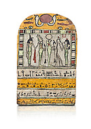 """Ancient Egyptian stele dedicated to Osiris by Neskhonsu,  Late Period, 25th Dynasty, (722-664 BC), Thebes, Cat 1596. Egyptian Museum, Turin. white background, <br /> <br /> The round topped stele dedicated by Osiris to Neskhonsu, daaughter of Nespernebu, """"gogs father"""" of Amon. Gifted by the Cairo Museum .<br /> <br /> If you prefer to buy from our ALAMY PHOTO LIBRARY  Collection visit : https://www.alamy.com/portfolio/paul-williams-funkystock/ancient-egyptian-art-artefacts.html  . Type -   Turin   - into the LOWER SEARCH WITHIN GALLERY box. Refine search by adding background colour, subject etc<br /> <br /> Visit our ANCIENT WORLD PHOTO COLLECTIONS for more photos to download or buy as wall art prints https://funkystock.photoshelter.com/gallery-collection/Ancient-World-Art-Antiquities-Historic-Sites-Pictures-Images-of/C00006u26yqSkDOM"""