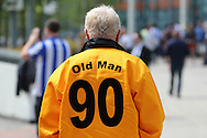 Hull City fans outside Wembley Stadium before k/o. Skybet football league Championship play off final match, Hull city v Sheffield Wednesday at Wembley Stadium in London on Saturday 28th May 2016.<br /> pic by John Patrick Fletcher, Andrew Orchard sports photography.