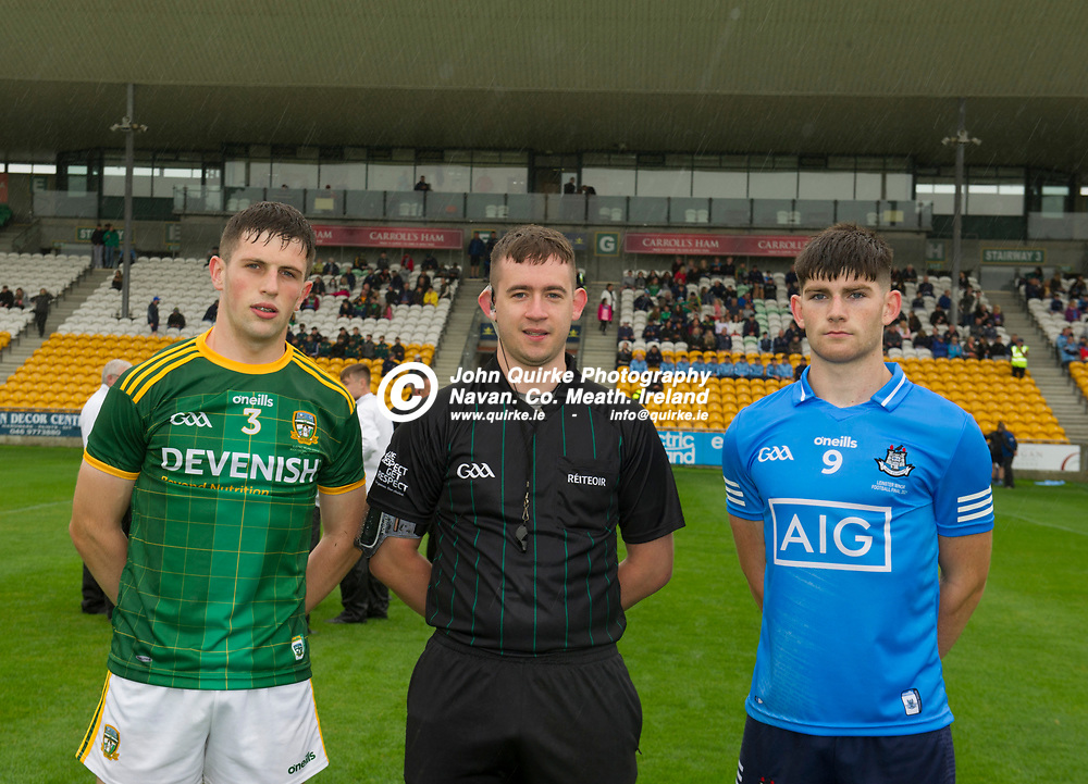02-08-21. Meath v Dublin - Leinster MFC Final at O'Connor Park, Tullamore.<br /> Meath captain Liam Kelly and Dublin Captain Eoghan O'Connor Flanagan with referee Fintan Pierce, Offaly.<br /> Photo: John Quirke / www.quirke.ie<br /> ©John Quirke Photography, 16 Proudstown Road, Navan. Co. Meath. (info@quirke.ie / 046-9028461 / 087-2579454).
