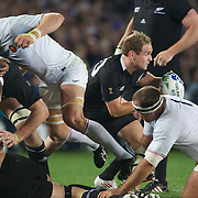 Andy Ellis, New Zealand,  gets the ball away during the New Zealand V France, Pool A match during the IRB Rugby World Cup tournament. Eden Park, Auckland, New Zealand, 24th September 2011. Photo Tim Clayton...