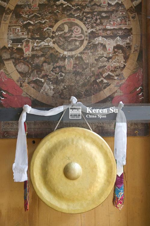 Bamboo hat, hada and door with wood carving, Trongsa, Bhutan
